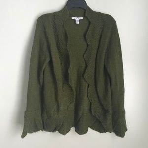 Cabi 697 Green Scalloped Chelsea Mohair Cardigan
